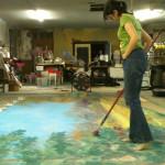 Jennifer painting 8' x 12' portable mural