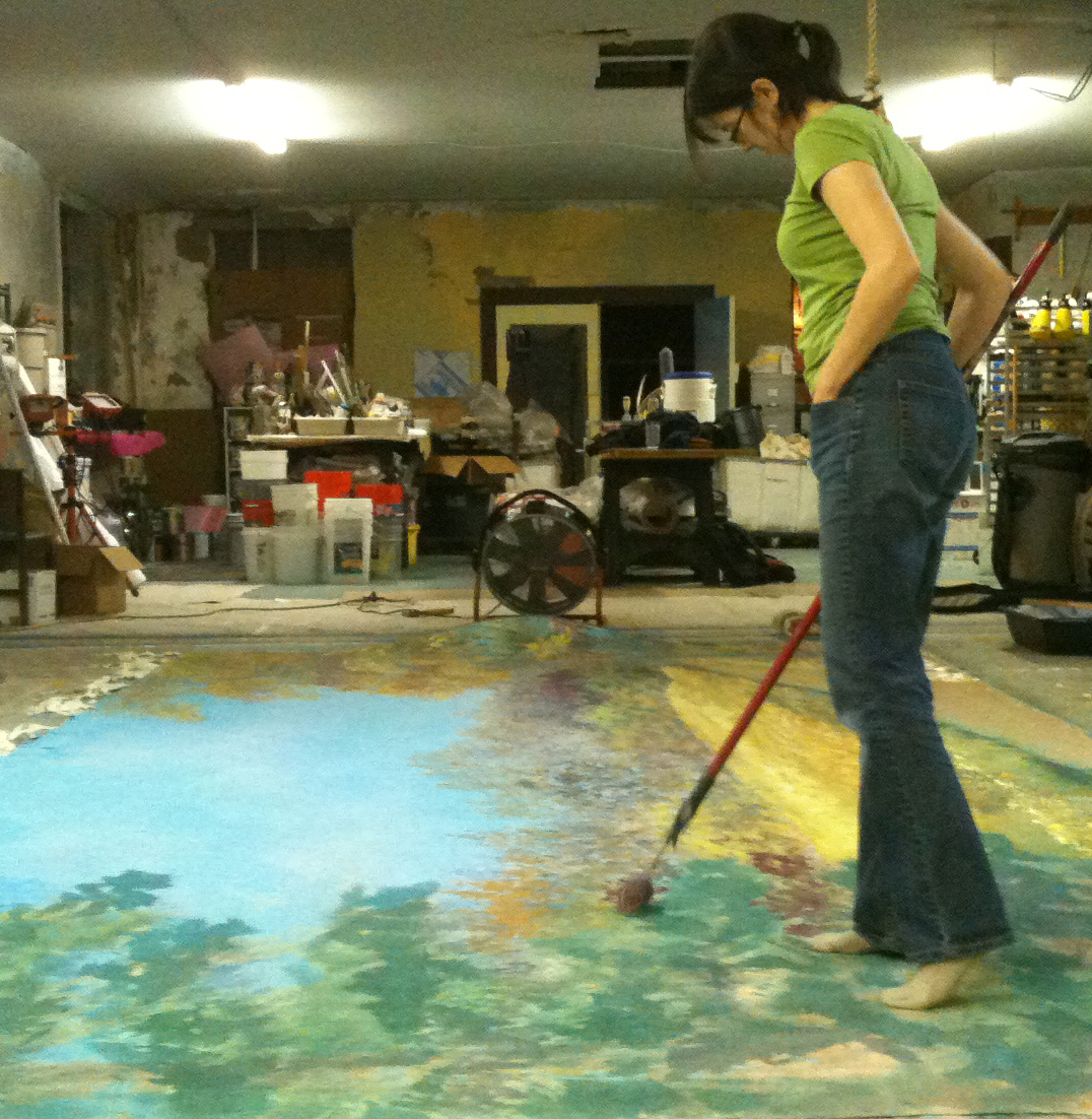 Jennifer painting 8' x 12' portable mural